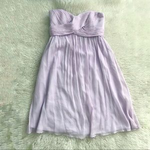 J Crew Lavender Silk Strapless Dress Size 0 NWT
